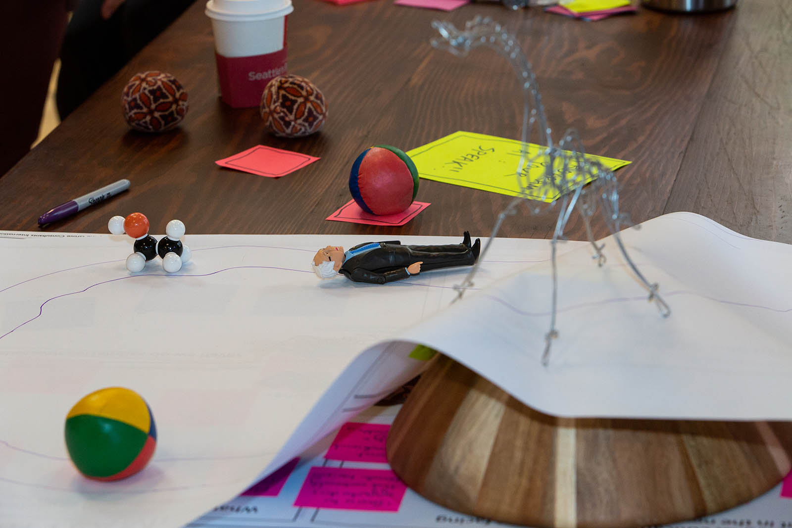 Learning and computing together. In one design group, attendees envisioned a game that was both virtual and tangible, allowing for cross-setting – and cross-generational – collaboration and problem-solving.